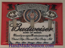 Budweiser Beer Logo Light Switch Power Duplex Outlet wall Cover Plate Home decor image 13