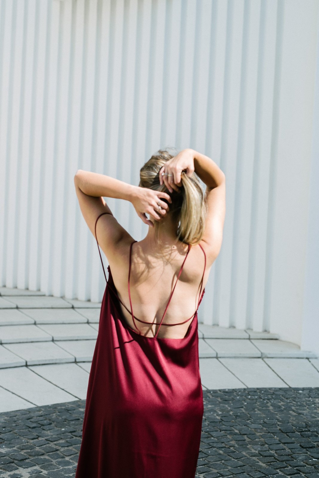 Burgundy Slip On Bareback Dress image 5