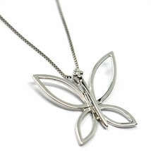 18K WHITE GOLD NECKLACE, BUTTERFLY PENDANT WITH DIAMOND AND VENETIAN CHAIN  image 1