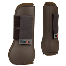 HORZE SPIRIT PLASTIC HORSE TENDON BOOTS CHOCOLATE BROWN FULL SIZE U-BR-F - $34.99