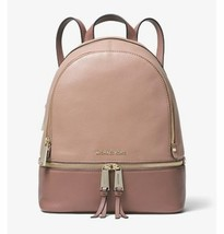 NWT Michael Kors Rhea Color-Block Pebbled Leather Backpack Fawn/Dusty Rose - $222.18