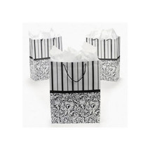 Lot of 12 Large Black and White Wedding Paper Gift Bags Party Favor Bags - $13.81