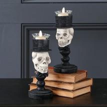 RAZ Set/2 Halloween Skull Head Top Hat Tealight Candle Holder H3611107 - $32.95