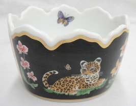 "Lynn Chase Jaguar Jungle Open Candy Dish Crown Shape 4.5"" Black 24K Trim... - $98.99"