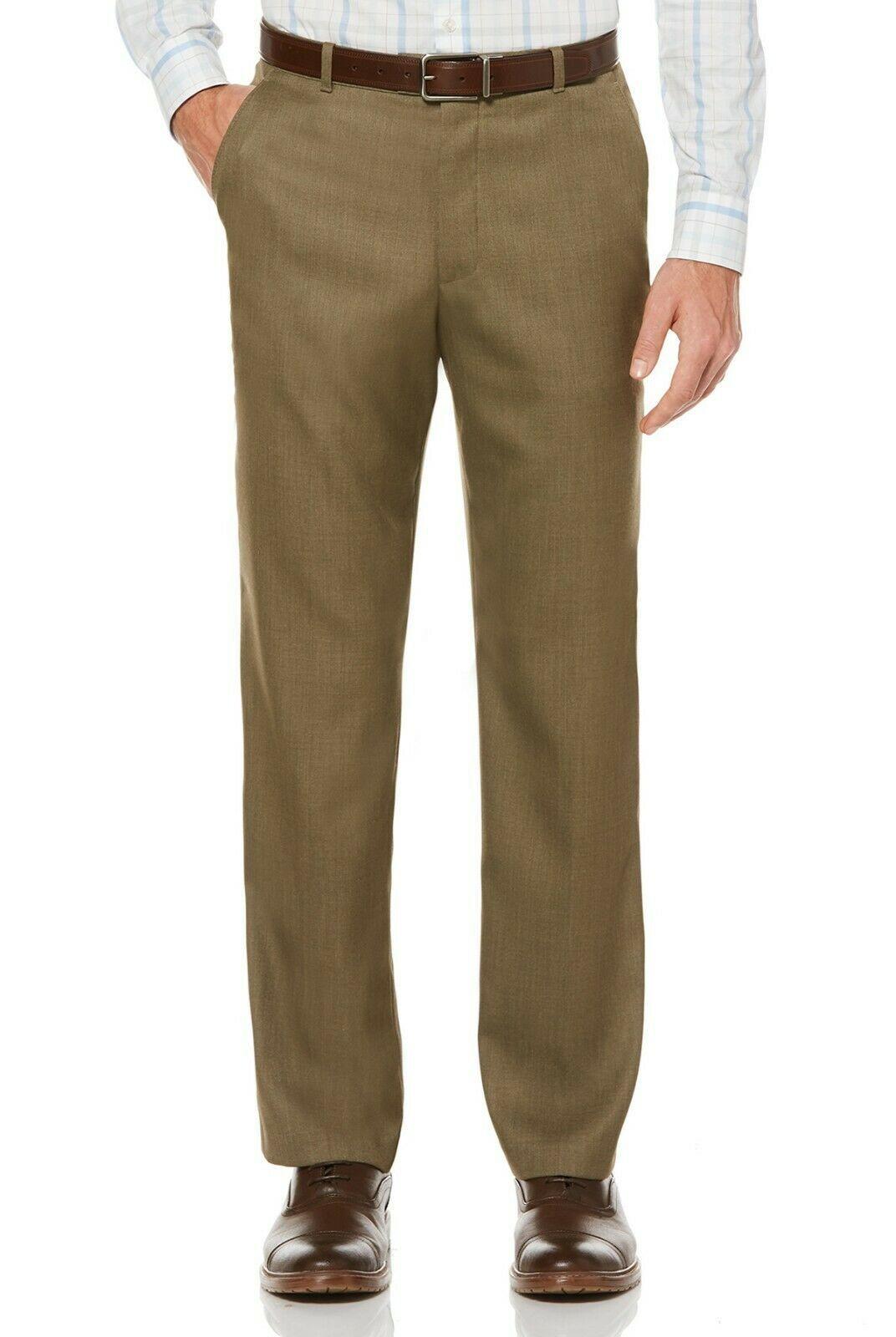 NEW PERRY ELLIS TRAVEL LUXE NON IRON COMFORT WAIST SHARKSKIN DRESS PANTS 34 x 30