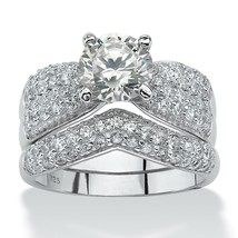 3.20 TCW CZ Platinum over .925 Silver Bridal Ring Set - $99.99