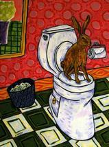 animal Art oil painting printed on canvas home decor rabbit bathroom - $14.99+