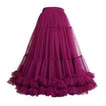 Women Midi Tulle Skirt Outfit Ballerina Tulle Skirt A-Line Layered Puffy Tutus image 7