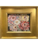 "KADLIC Floral Roses Flowers Original Oil Painting 15"" Gold Gilt Frame *F... - $306.89"