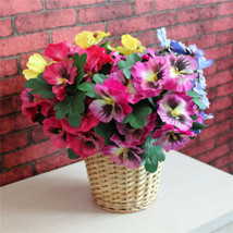 1x Bouquet Artificial Simulation Silk Flower Pansy Fake Plant Home Garde... - $2.96