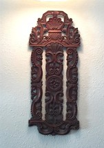Intricately Carved Wood Relief Wall Panel Art Architectural Salvage Pedi... - $135.23