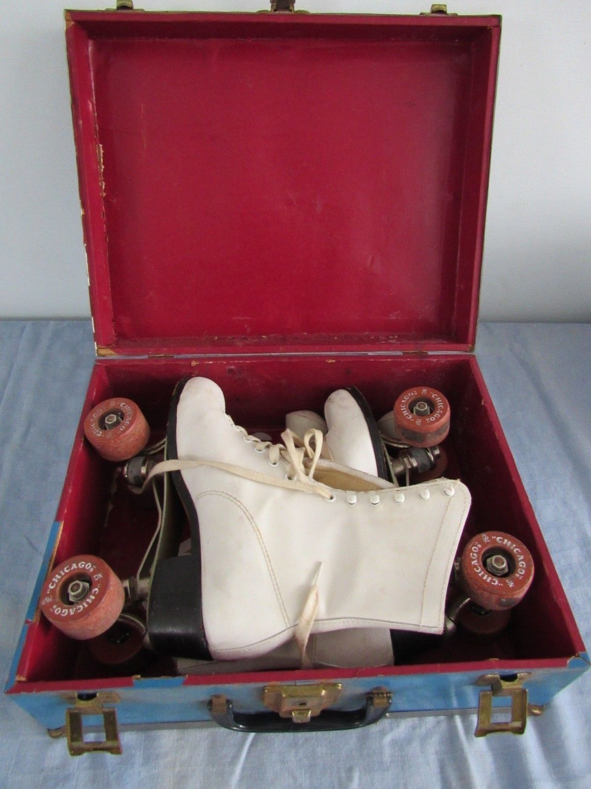 Vtg Chicago Women's Leather Roller Skates w/ Case Size 5 Plus Wrench and Stops - $94.07
