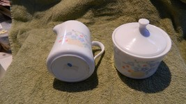 Corelle Country Cornflower Creamer Pitcher & Sugar Bowl With Lid Free Usa Ship - $23.36