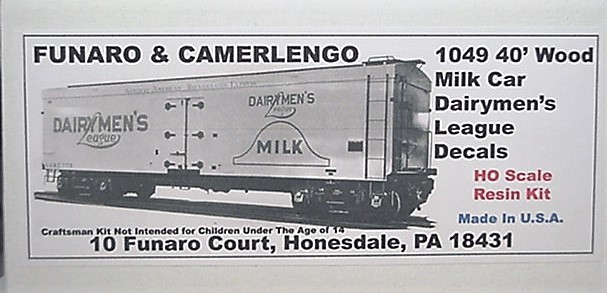 Funaro & Camerlengo HO Dairymans League 40' Wood Milk Car Kit 1049