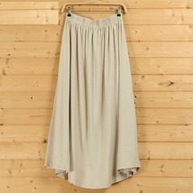 Women A Line Pleated Linen Skirts Linen Boho Skirt, Burgundy Beige Blue,One Size image 7