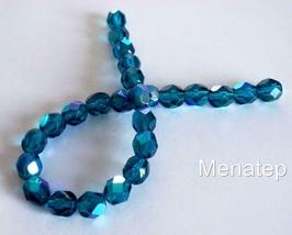 25 6mm Czech Glass Fire Polished Beads: Teal AB - $2.73