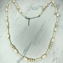 Chico's Silver Tone Long Cream Beaded Necklace - $24.18