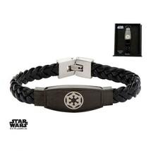 Disney Star Wars Stainless Steel Galactic Empire Symbol Braided Leather Bracelet - $56.00