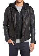 Mens Black Bespoke cowhide Jacket Real Leather Jacket genuine Handmade Jacket - $118.79+
