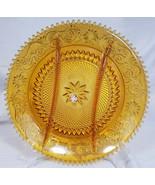 Vintage Tiara Exclusives Amber Sandwich Glass 3-Part Relish Dish (1970s) - $13.50