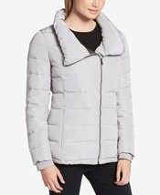 New DKNY Women Sport Asymmetrical Zip Packable Down Puffer Coat, Grey, S... - $148.49