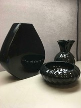 Lot of 3 Black Haeger Vases Planters Different Shapes and Sizes - $26.39