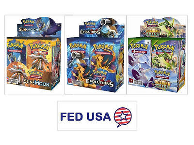 Roaring Skies, Sun & Moon, and XY Evolutions Booster Boxes Pokemon TCG Sealed