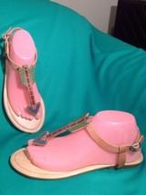 Lucky Brand 8.5M Women's Thong Sandals Tan Blue Green Leather Arrow Detail Flat - $29.69
