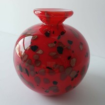"Murano Cased Art Glass Vase Red White Gold 4"" Round Heavy Mid Century Modern  - $44.99"