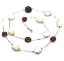 18K WHITE GOLD NECKLACE, ALTERNATE AMBER, PEARL DISC AND OVAL MOTHER OF PEARL image 1