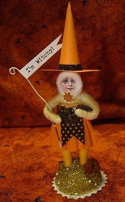 Vintage Inspired Spun Cotton Mini Halloween Witch Ornament No. 212