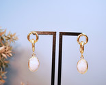 Gold Quartz Drop Earrings, Gold Cable Earrings,22K Gold Filled Earrings - £26.62 GBP