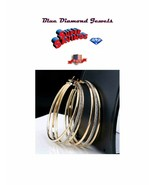 CHEAP BIG BLING Hoop TuTone Earrings 3-Strand w/ Diamond Finish Center U... - $15.95