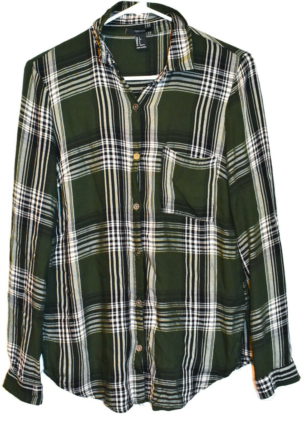 Forever 21 Women's Green & White Plaid Flannel Button Up Blouse Shirt Size S