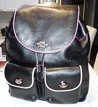 Coach Pebble Leather Multi Edgepaint Billie Drawstring Backpack Bag Blac... - $189.99