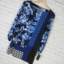 Alfani Shirt Top Tunic Womens Medium M Blue Black Mixed Print MSRP $70 B96 - $32.50