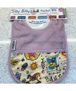 Silly Billyz Bib Baby Water Resistant Purple Toys Love Pocket Adjustable... - $11.38