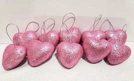 "Valentines Day Pink Glitter Hearts 1.5"" Ornaments Decorations Decor Set ... - $9.99"