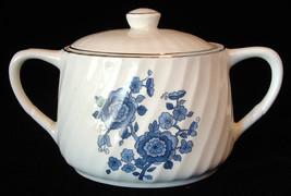 Sugar Bowl With Lid E Wedgwood Royal Blue Jacobean Floral 1959-1968 Blue White - $14.00
