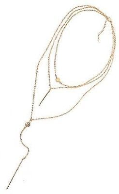 Gowe Fashion Alloy Metal Bar Pendant 3 Layers Chain Necklace Chunky Women