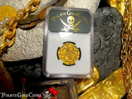 SPAIN 2 ESCUDOS NGC 61 PIRATE GOLD COINS 1556-98 TREASURE DOUBLOON COB P... - $3,950.00