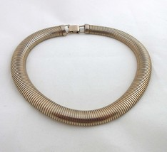 Coro Necklace Stove Pipe Snake Omega Choker Gold Link Chain Vintage Signed 9011 - $69.30