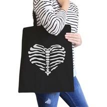 Skeleton Heart Black Canvas Bags - $19.89 CAD