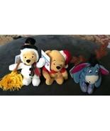Disney Store Bean Bag Plush Santa & Snowman Pooh + Reindeer Eeyore NWT S... - $19.79