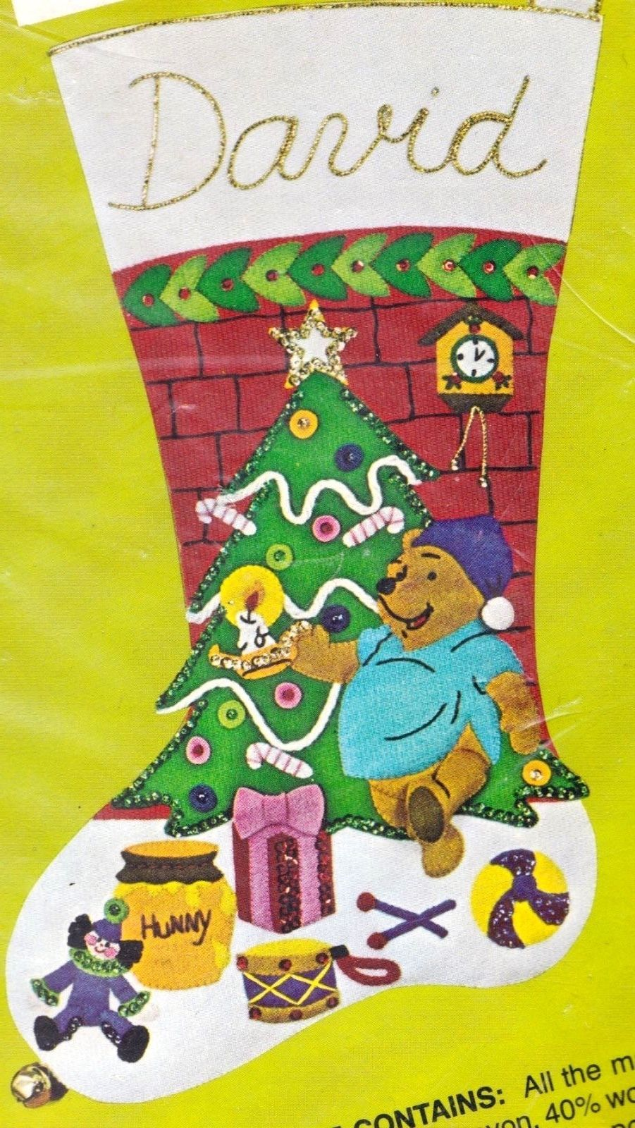 Primary image for Vtg Winnie and Christmas Tree Disney Pooh Christmas Felt Stocking Kit Bucilla