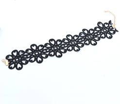 New Vintage Black Lace Choker Necklace Hollow O... - $9.95