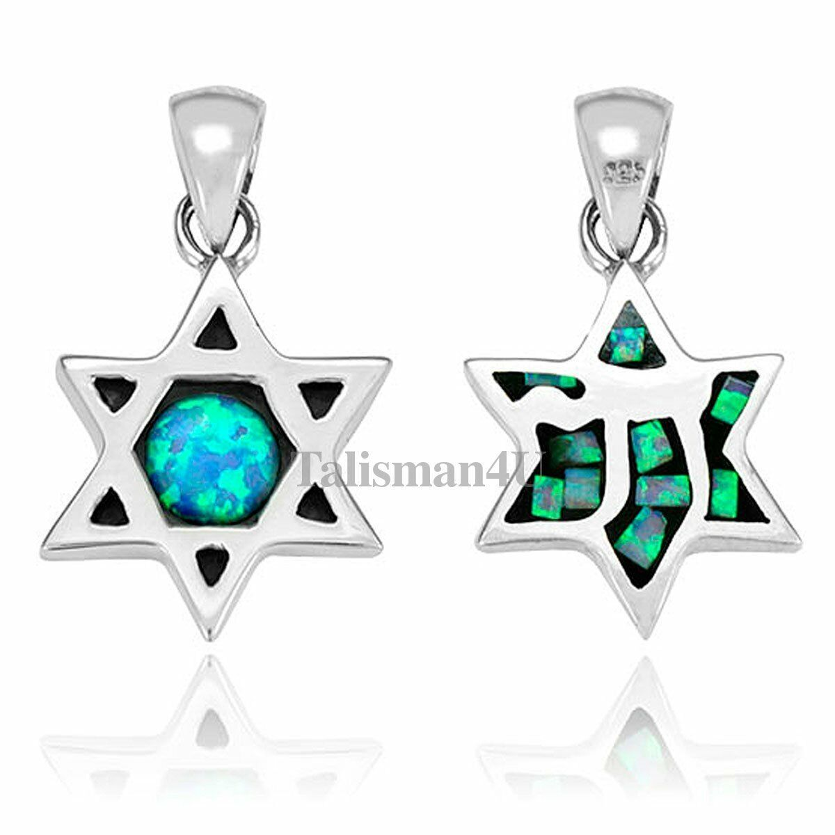 Primary image for Blue Opal STAR OF DAVID Chai Two-Sided Design Sterling Silver KABBALAH PENDANT