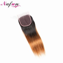 NAFUN Straight 4x4 Lace Closure Mongolian Hair #T1B/30 Pre colored Non R... - $41.80