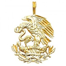 14k Yellow Gold Detailed Diamond Cut Designer Mexican Eagle Image Charm ... - $114.43