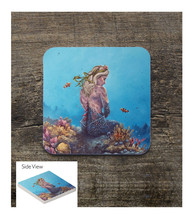 Silver Hair Mermaid on the Reef Square Sandstone Table Coaster - $6.00